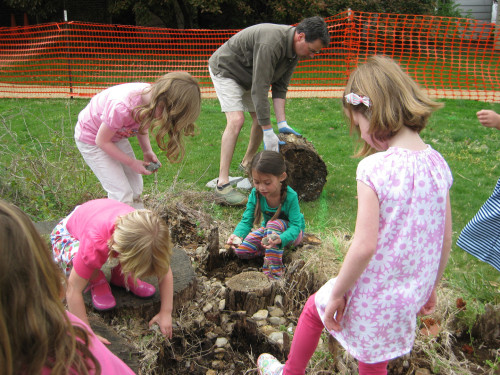 The children help deconstruct a stage made of tree cookies and river rocks, sorting out the rocks for later.