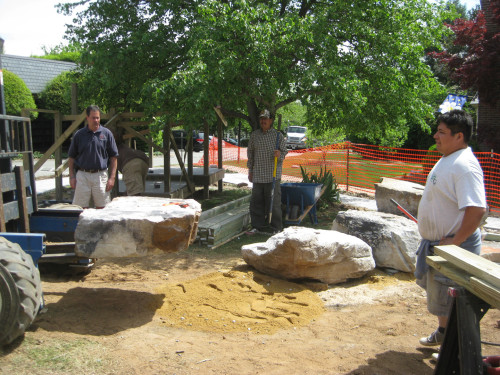 The boulders go into the big sand pit.