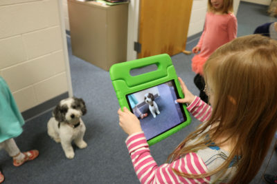 Taking a picture of our therapy dog, Lucy, for the eBook about class pets.
