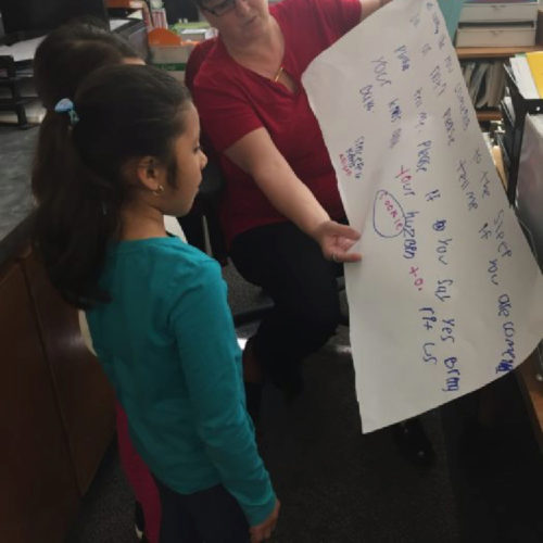 Mrs. Cooper was busy, so the girls shared their letter with Mrs. Arrington, who promised to give the letter to Mrs. Cooper.